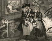 1860s Engraving on Times of the Day. Night, by William Hogarth