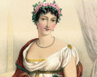 1857 Antique Chromolithograph of the Women of Napoleon's Day. Madame Tallien