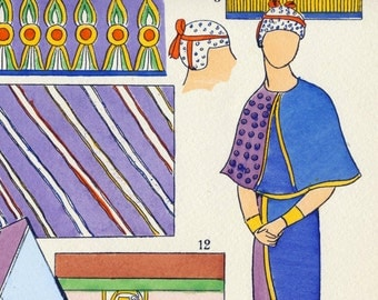 1925 French Art Deco Hand Coloured Pochoir Print on Ancient Egyptian Women's Fashions. Textiles. Plate 8
