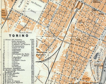 1913 Vintage Map of Turin, Italy - Vintage City Map - Old City Map