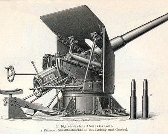 1895 German Back to Back Engraving of Naval Artillery