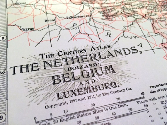 1911 Century Atlas Vintage Map of the Netherlands and Belgium - Antique Netherlands Map - Antique Belgium Map