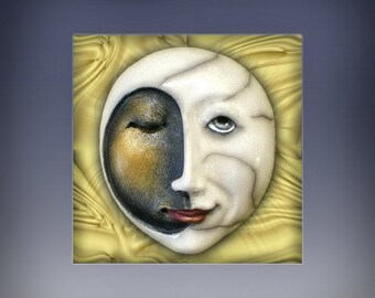 Moonshine - Raku Ceramic Mask Sculpture, Moon Face Pendant, Original Mask Art, Art to Wear, Made to Order