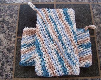 Two Crochet Kitchen Trivet Potholders, Pretty Blues, Magic Potholder, Camp Kitchen Potholders, Thick Potholder, Blue White Tan Potholders