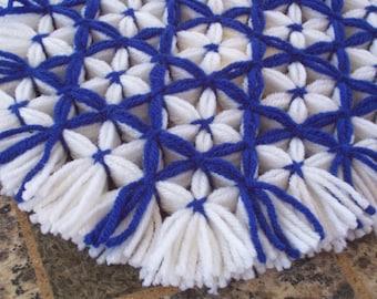Retro Woven Kitchen Trivet, Royal Blue Trellis, Yarn Hot Pad, Yarn Serving Mat, Yarn Trivet, Woven Mat, Blue Hot Pad, Daisy Trivet, Flowers