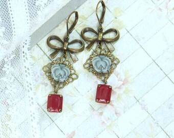 Gray Rose Drop Earring Gray And Red Earring Flower Dangle Earrings Victorian Earrings Gray Floral Earrings