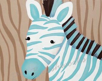 Childrens Art Print - Bubblegum Jungle Friends Blue Zebra 12x12 print - childrens art, zebra, zebra stripes print