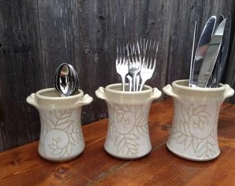 White Fern Silverware Utensil Holders / Set of 3
