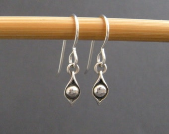 tiny silver one pea pod earrings. small sterling silver 1 peapod dangle rustic jewelry. oxidized. black antiqued. boho bohemian gift for her