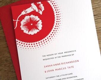 Printable Wedding Invitations - Red Circle Burst - Morning Glory - Instant Download - Red Wedding Invitations - Modern Wedding - PDF