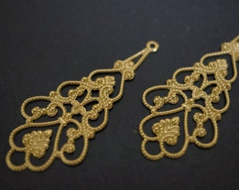 Raw Brass Filigree Chandelier Wraps - 18mm x 40mm - 10 pcs