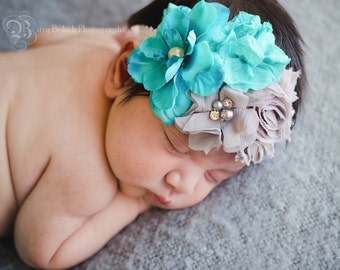 baby headband....floral shabby chic...girls headbands for baby and toddlers and older..Shabby chic Floral  headband....Newborn head