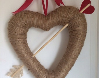 Valentine's Day bow and arrow twine heart wreath-ready to ship