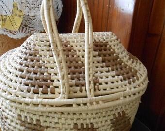Extra Large Basket Rattan w/Handle Basket Farmer's Market Basket, beach bag, With cover