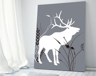 Wall Decor Home Decor Moose Art Gift for him Woodland Canvas Print Canvas art Nature Decor Deer Antlers Home Decorating Home Decor