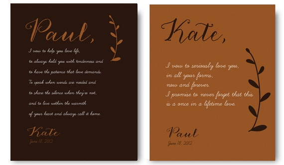 Items Similar To Wedding Vows On Canvas Romantic Gifts