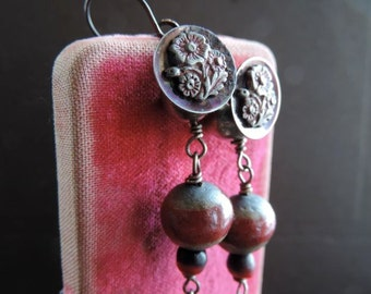 Antique Assemblage Dangle Earrings with Handmade Muted Red and Gray Raku Beads Antique Buttons and Vintage Chain with Small Disc Dangles