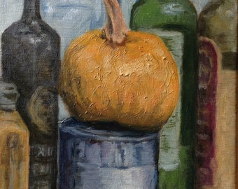 Still Life with bottles and Pumpkin
