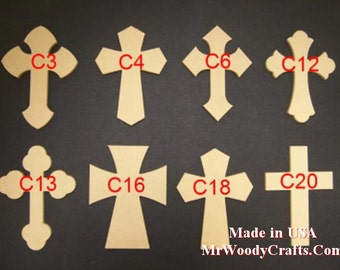 16 x 24 Inch Unfinished Wooden Crosses, Choose from 24 different Crosses and 3 thickness, Ready to Paint, 1/2 and 3/4 have key holes.  1-13A