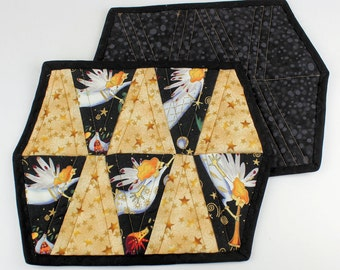 Angels Quilted Mug Rug, Christmas Snack Mat, Coaster, Pot Holder, Trivet, Candle Mat, Black and Gold Mini Quilt
