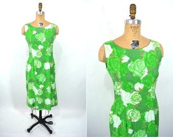 1960s shift dress   bright green floral rose print shift dress   vintage 60s dress   S/M
