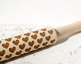 Hearts embossing rolling pin, Hearts pattern, Cookies decorating wooden rolling pin