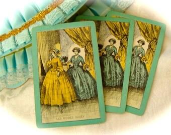 Antique Rare Aqua Victorian Les Modes Godey Ladies