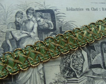 Vintage French Metallic Ribbon Trim