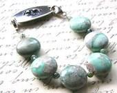 Medical ID Bracelet, Variscite Gemstone Detachable Bracelet, Chunky Green Blue Sterling Silver Medical Bracelet Attachment