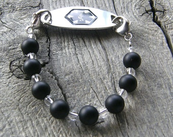 Black Agate Medical ID Bracelet, Frosted Black Alert Bracelet, Sterling Silver Clasp Replacement Bracelet