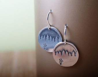 Sterling etched Forest Skyline earrings
