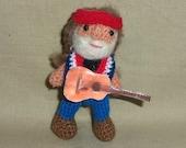 Willie Nelson Miniature Thread Artist Crochet Doll  Ready to Ship