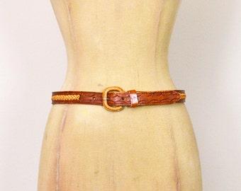 Vintage 70s Brown Leather Belt Woven Leather Braid Leather Skinny Belt Cinch Waist 70s Belt 70s Hippie Belt Hippy Belt Boho Belt Women 28 29