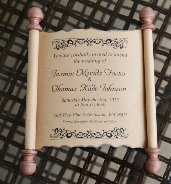 Unique Wedding Invitation Scroll Custom Personalized Wooden Invite Cards Rustic Chic Vintage Cards