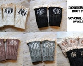 Monogrammed lace trim boot cuffs. Available in black, white, natural, brown, emerald, fuchsia, midnight blue, mauve, steel blue and red.