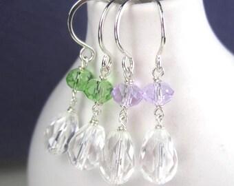 Quartz Gemstone Earrings in Sterling Silver, Crystal Earrings Hodgkins Lymphoma Jewelry, Violet or Lime Green