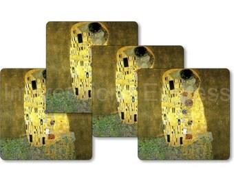 Gustav Klimt The Kiss Square Coasters - Set of 4