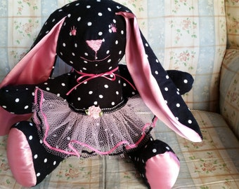 Black and White Polka Dot Stuffed Plush Ballerina Bunny