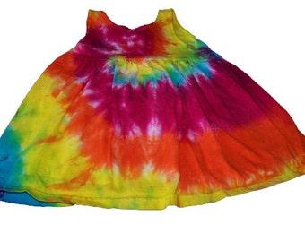 Tie Dyed, Sunshine Rainbow Spiral,  Girl's  Empire Waist Sun Dress/Jumper/Tunic