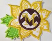Sunflower Monogram Iron On or Sew On Applique