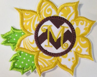 Sunflower Monogram Iron On or Sew On Applique