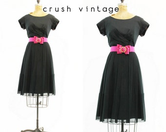 50s Dress Chiffon Large / 1950s Vintage Dress /  My Sweetheart Dress