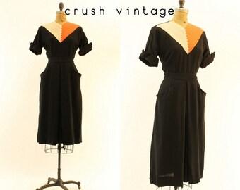 40s Dress Mitre Design Small Medium  / 1940s Vintage Dress Chevron Colorblock /  Coral Candy Dress