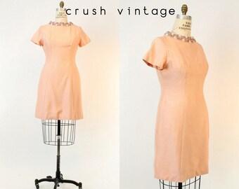 60s Beaded Shift Dress Med Large / 1960s SIlk Wool Dress / Pink Peony Dress