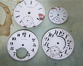 Vintage Antique porcelain pocket Watch Faces - Steampunk - Scrapbooking J22
