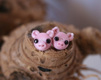 the Pig,Couple Tiny Glass Earrings and Silver. Handcrafted by Ghirigori Glass.