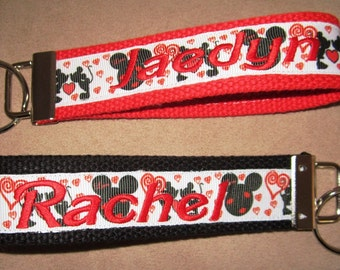 MICKEY/MINNIE MOUSE Wristlet Key Fob- Valentine's Day, St. Patrick's Day, Holiday
