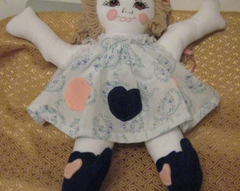 Rag Doll with Embroidered Face