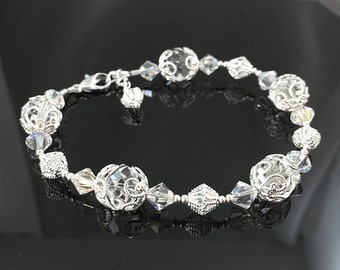 New Swarovski Clear/AB Crystal Bicone Beaded Bracelet