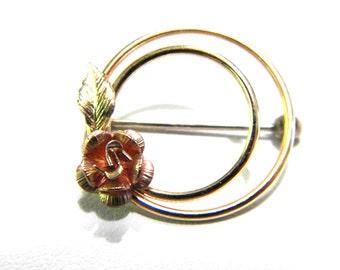 Krementz Rose Circle Vintage Pin